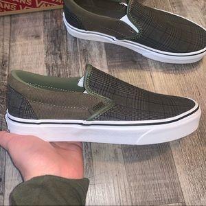 Vans Shoes - Vans classic slip on tm green plaid shoes sneakers